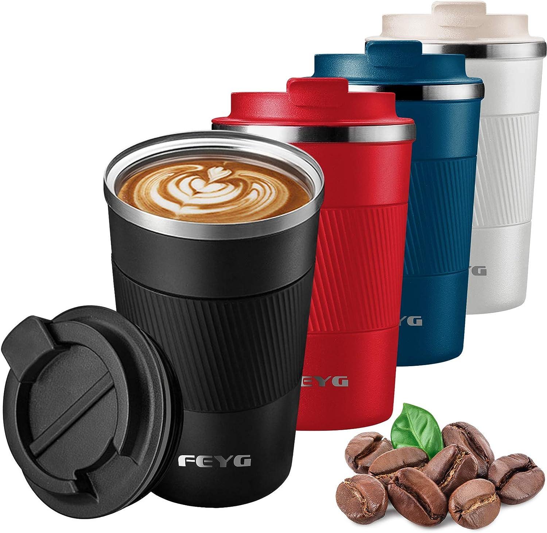 Termo Taza 510ml, Termo Cafe Cafe para Llevar de Acero Inoxidable, Taza de Viaje para 100% Cafe a Prueba de Fugas para Bebidas Frías y Calientes Bebidas té Café Agua (negro-510ml)