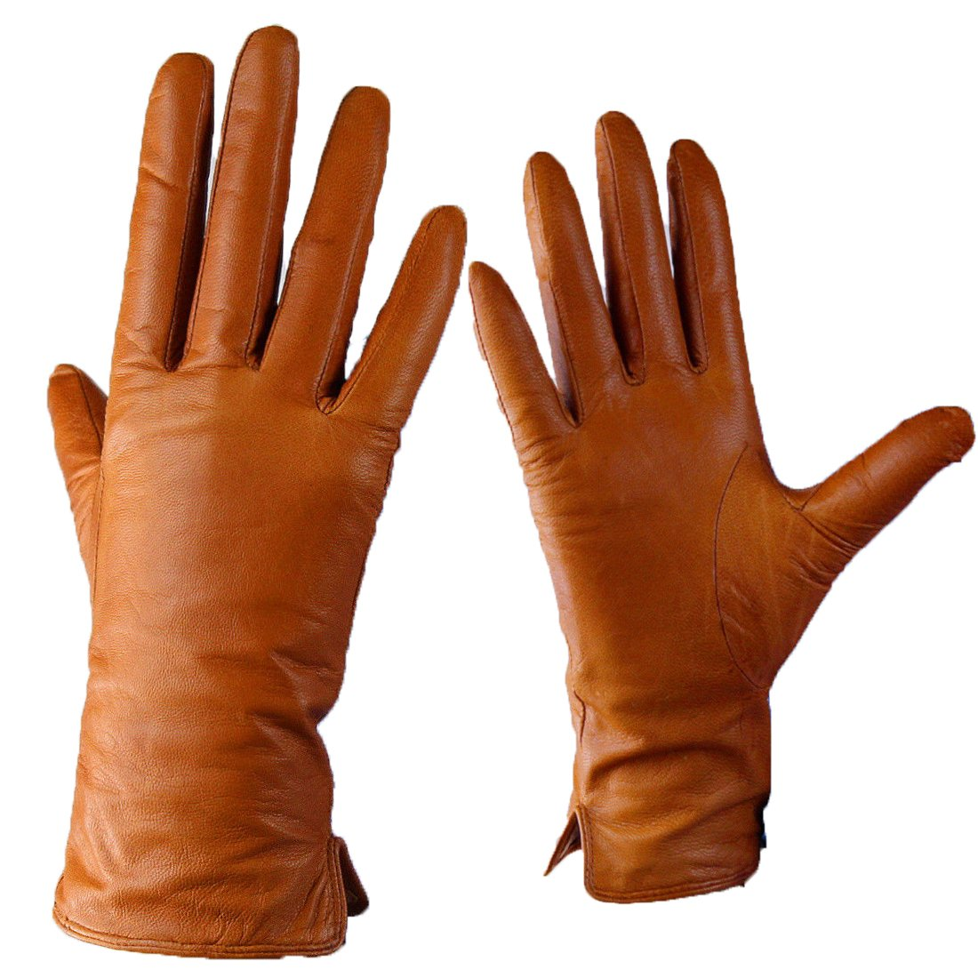 Real Leather Gloves Wrist Long Basic Genuine Lambskin Sheepskin Brown Tan Women (M)