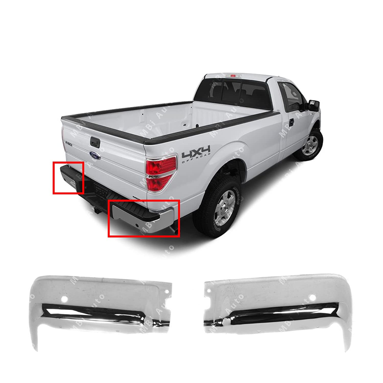 MBI AUTO - Chrome, Steel Pair of Left & Right Rear Bumper End Caps for 2009-2014 Ford F150 Pickup w/Park Assist 09-14, FO1102372