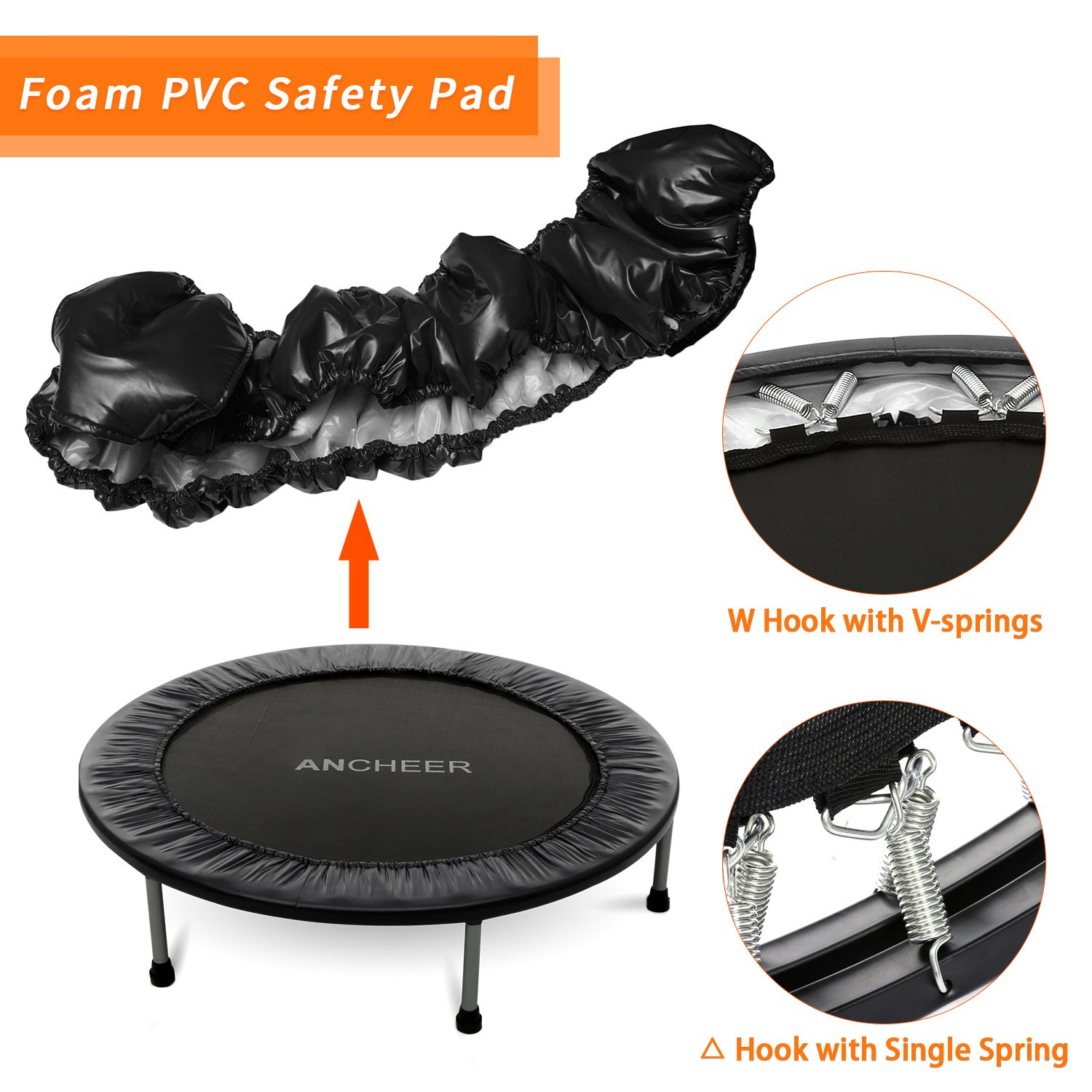 ANCHEER Mini Trampoline with Safety Pad, 220lbs Weight Capacity Fitness Rebounder Trampolines for Home Gym Office Garden Workout Cardio Training Equipment (Black, 40inch-Folding one time) by ANCHEER (Image #1)