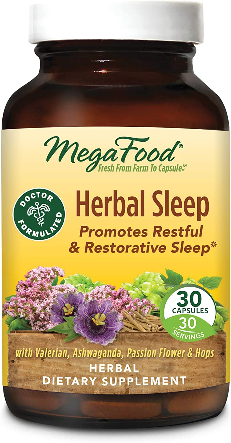 MegaFood, Herbal Sleep, Doctor Recommended and Made with Organic Ashwagandha, Hops and Passion Flower, Vegetarian 30 Capsules