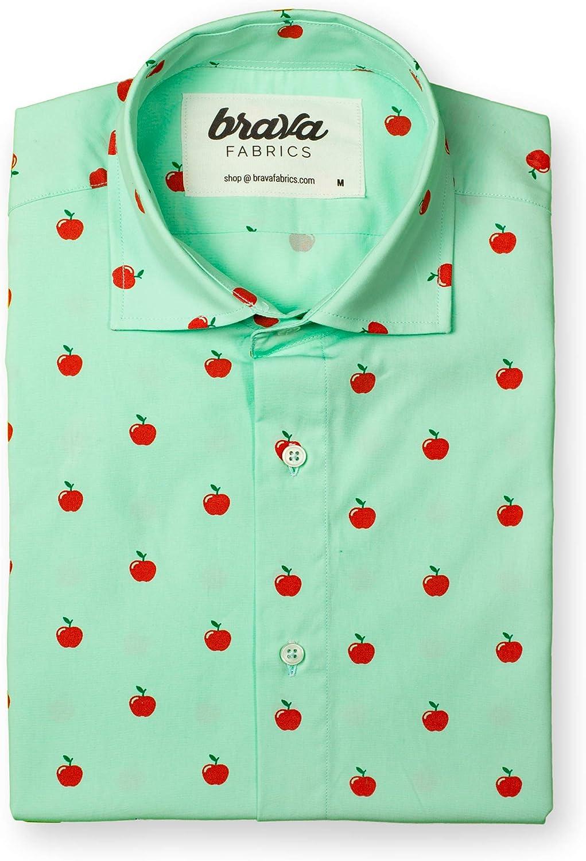 Brava Fabrics | Camisa Hombre Manga Corta Estampada | Camisa Verde para Hombre | Camisa Casual Regular Fit | 100% Algodón | Modelo Apple Fairytale | Talla XL: Amazon.es: Ropa y accesorios