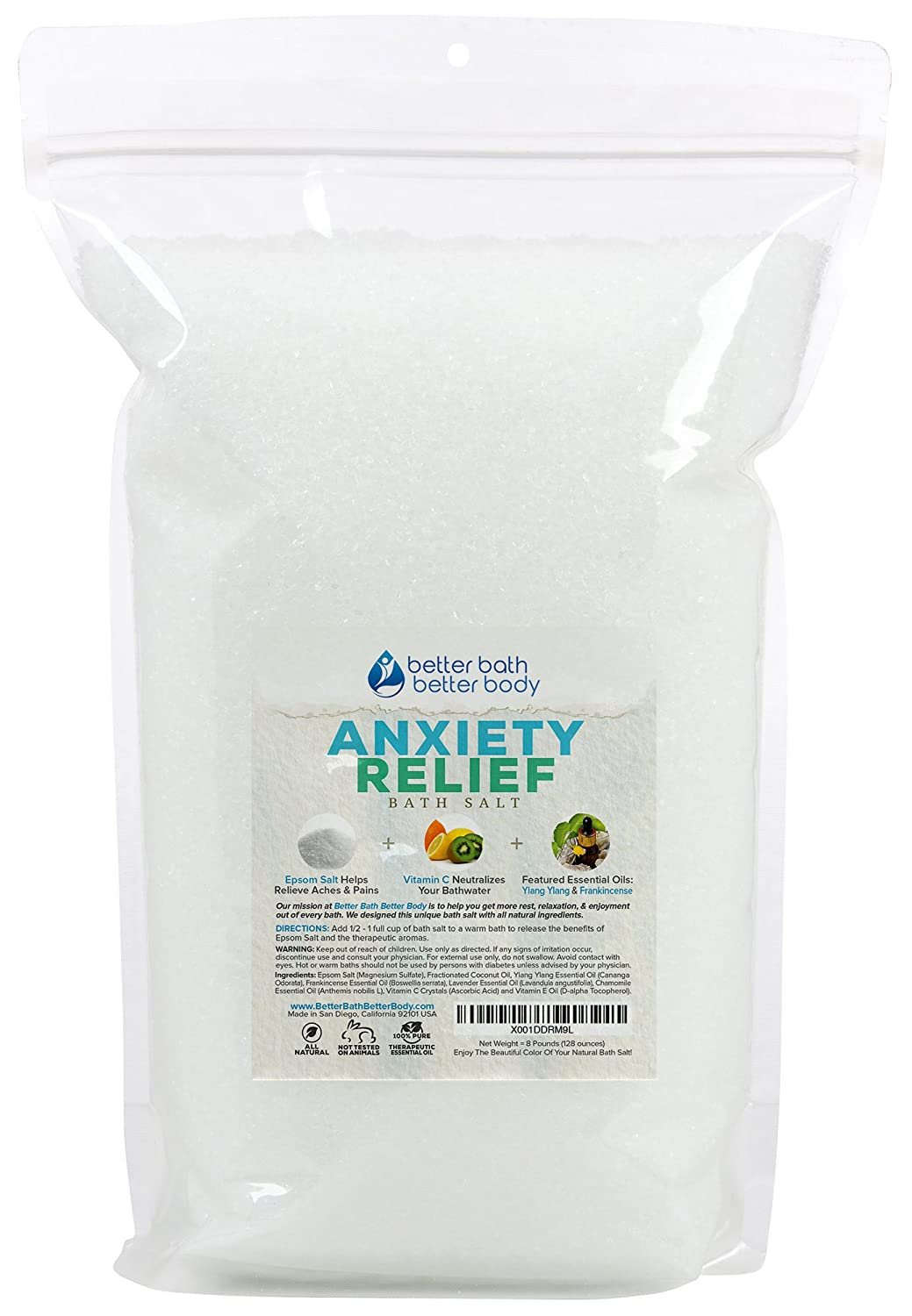 Anxiety Relief Bath Salt 32oz (2-Lbs) Epsom Salt With Ylang Ylang & Frankincese Essential Oils Plus Vitamin C All Natural Ingredients - Destress, Relax, Relieve Tension Bath Soak Better Bath Better Body