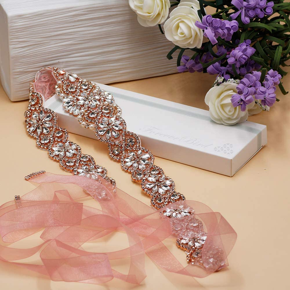 ForeverBird 2019 New 22 Long Rhinestone Wedding Belt Crystal Dress Sash for Bridal Bridesmaid Gowns Organza Ribbon