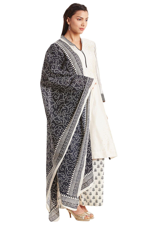 BIBA Off White Cotton Silk A-Line Suit Set32