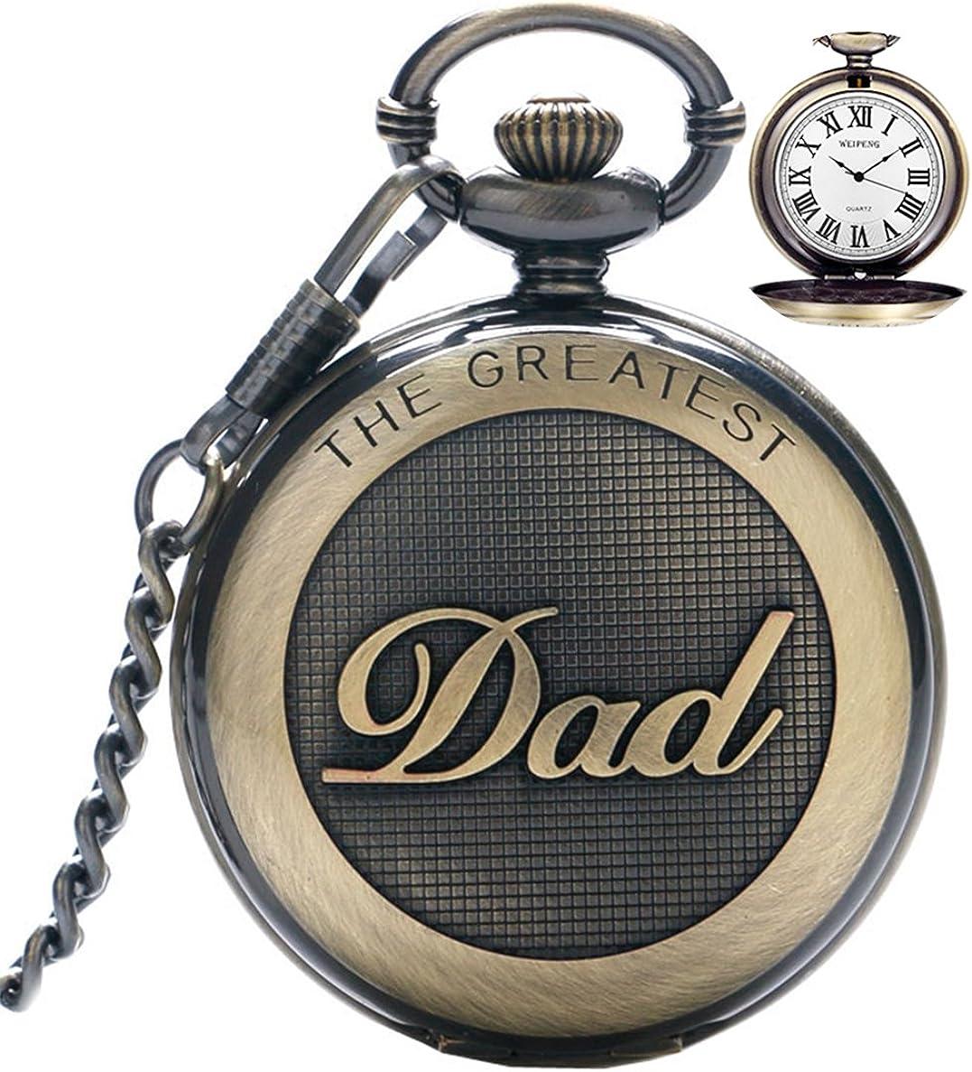 Reloj de Bolsillo para Hombre Cuarzo con Cadena para Hombres Colgante de Reloj de Bolsillo con números Romanos para el día más Grande/Abuelo - Retro Regalos para el día del Padre de