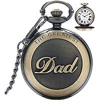 Reloj de bolsillo para hombre, estilo vintage, de cuarzo, con cadena para hombre, reloj de bolsillo con colgante para el…
