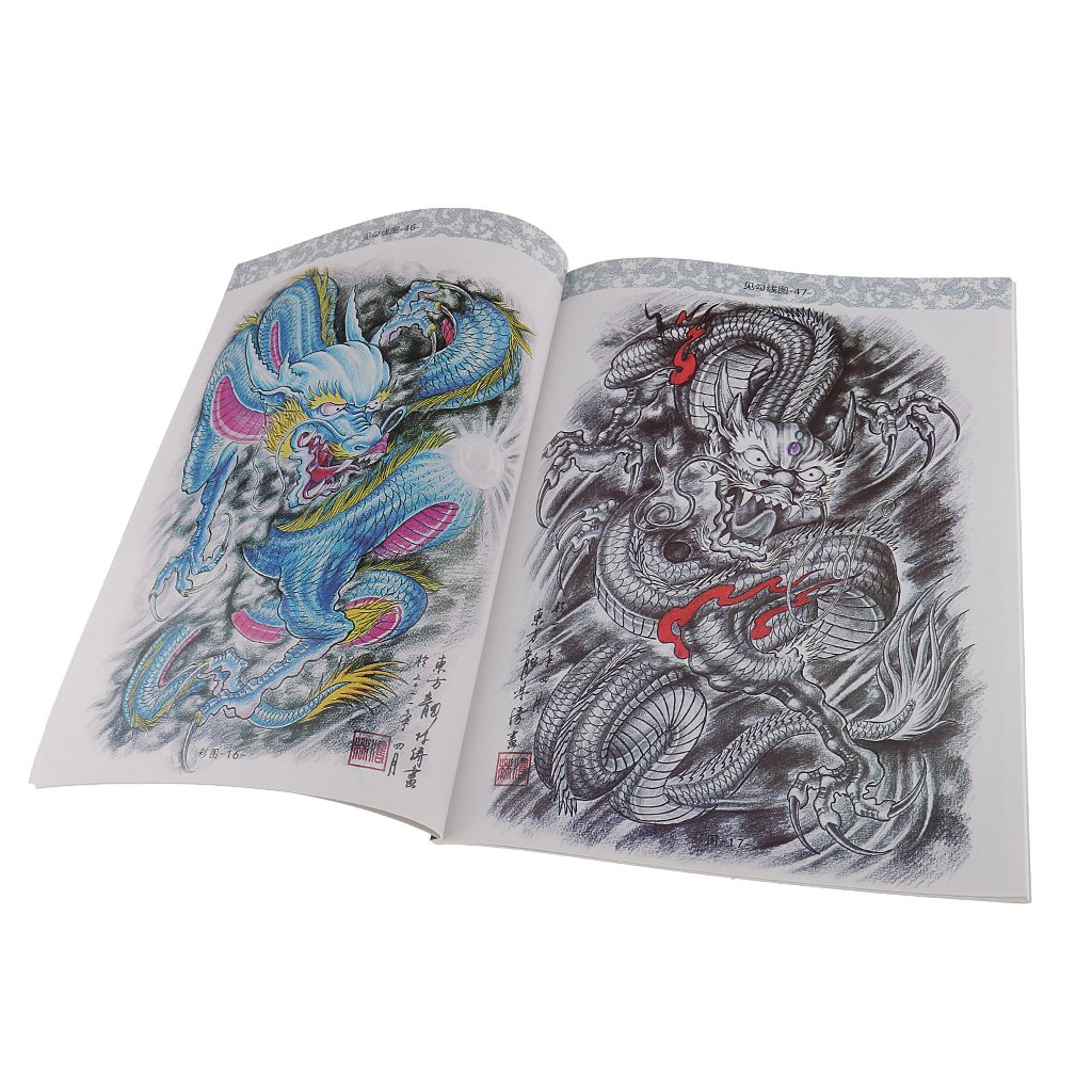 Rare Traditional Classical Dragon Tattoo Stetchbook Body Art Coloring Reference Book 60 Pages Amazon In Clothing Accessories