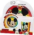 BBS GO ON - Vajilla infantil, 3 piezas, estampada Mickey Mouse