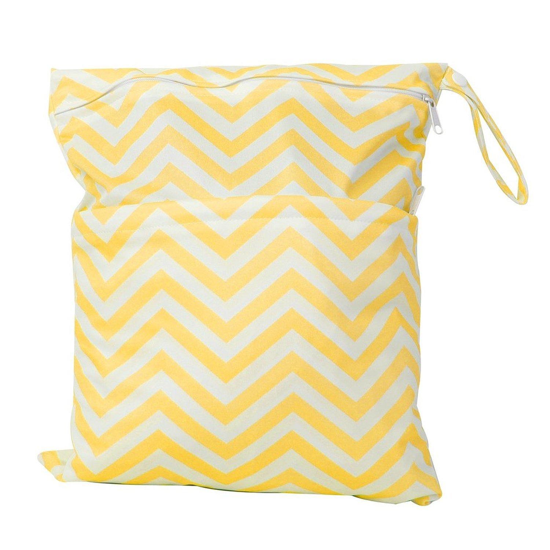 Bolsa de panal de bebe - TOOGOO(R)Bolsa de panal de bebe de tela impermeable reutilizable y lavable con doble cremalleras (Patron de ondulacion, amarillo + blanco)