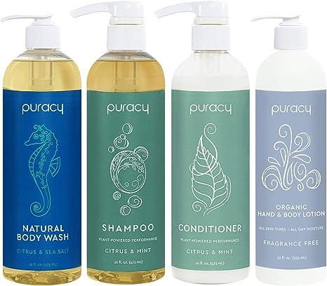 Puracy Organic Hair & Skin Care Set, Natural Body Wash, Salon ...