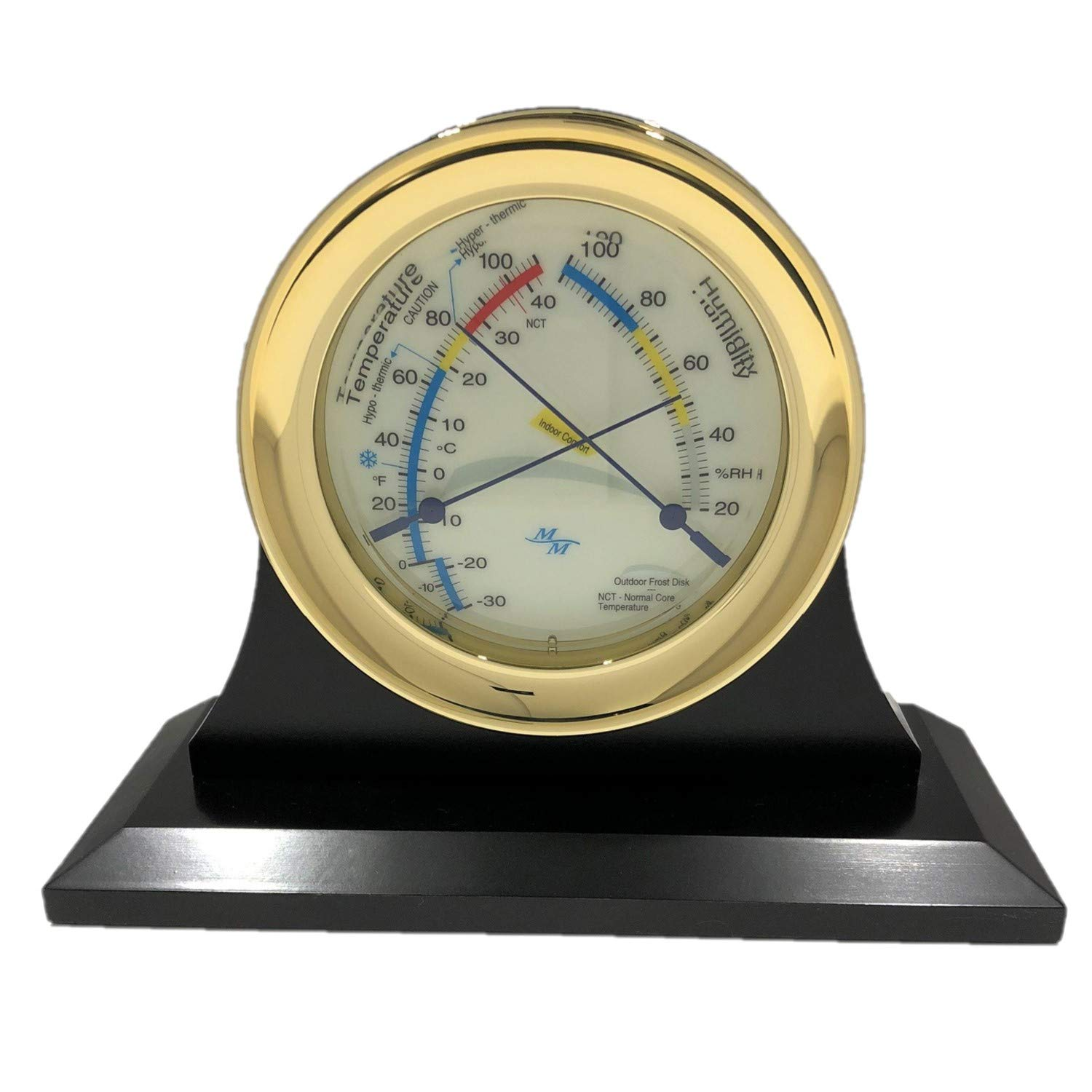 """Master-Mariner American Voyager Collection, Nautical Windlass Comfort Meter, 5.85"""", Gold Finish, Ivory Signal Flag dial and Single Cradle Base, Ebony Finish with Silvertone and Goldtone Nameplates"""