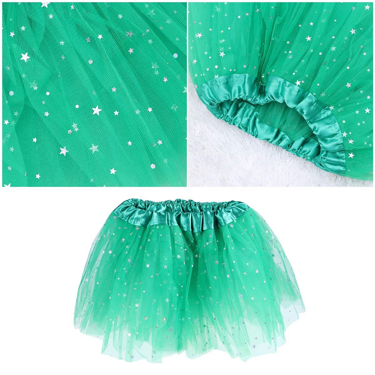 BESTOYARD Tutu Skirt St Patricks Day Tutu Elastic 3-Layered Skirt for Kids Girls Free Size Green