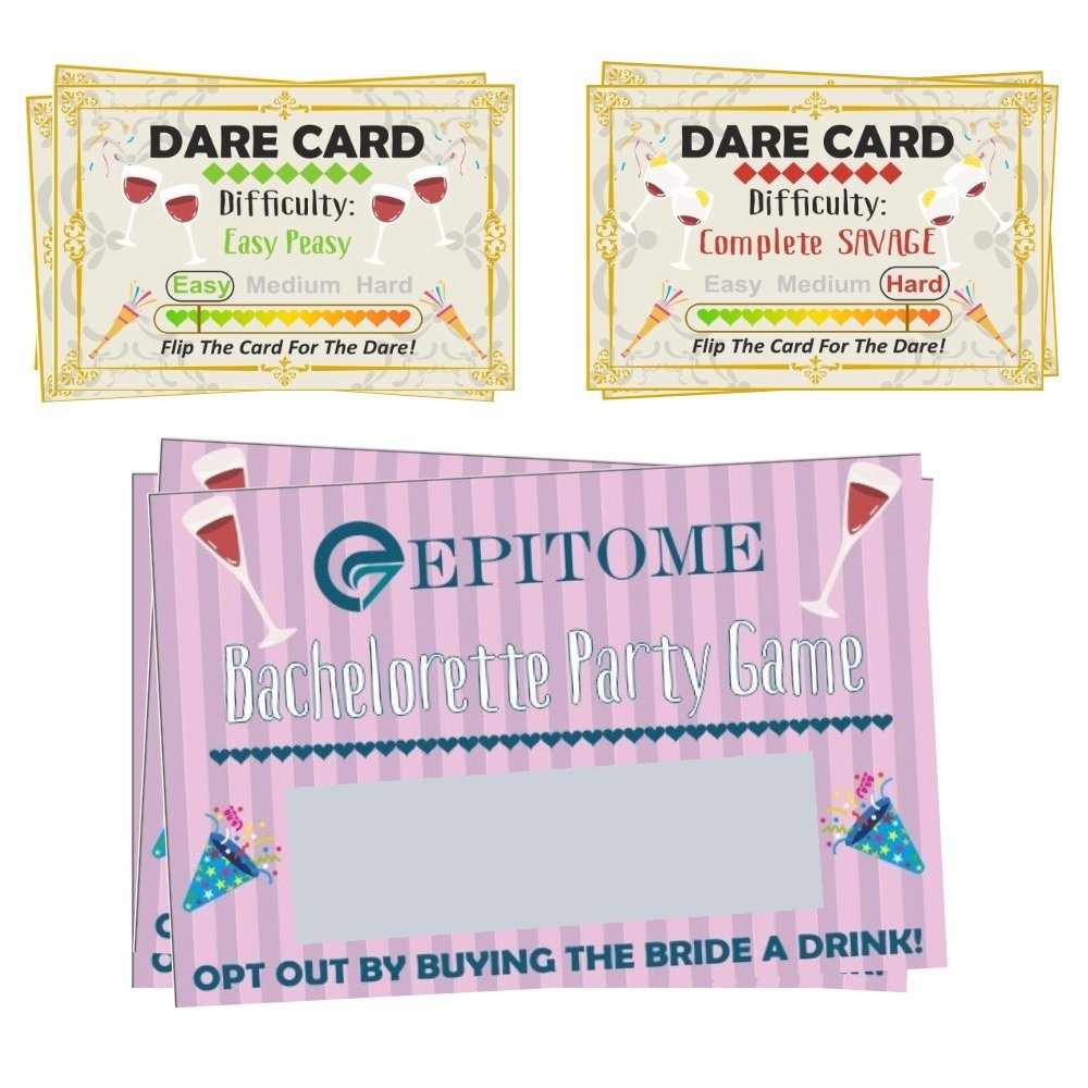 Bachelorette Party Games: Decorations Supplies - Girls Ladies Night Out Games - Party Drinking If Dare Cards - Games for Parties Couple Wedding Shower Engagement Bridal Shower Game Gifts by eEpitome Bachelorette Party Supplies🎉