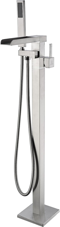 ANZZI UNION 지면-거치된 독립 구조로 서있는 욕조에서 수도 꼭지에 의하여 솔질되는 니켈|CLAWFOOT 욕조 수도 꼭지 여분의 긴 샤워 호스 휴대용 샤워 스프레이|2 개의 손잡이 욕조 FILLER|FS-AZ0059BN