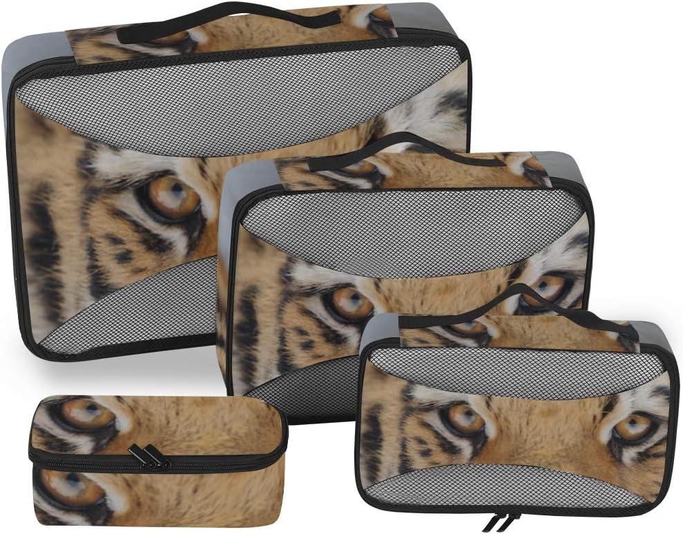 Cube Travel Cute and Naughty Tiger Organizador de Bolsas de Viaje para Hombres Organizador de Equipaje Cubos de Embalaje Organizador de Maletas de 4 Piezas Bolsa de Almacenamiento de Equipaje Ligero