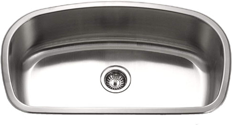 Houzer MB-3300-1 Medallion Designer Series Undermount Stainless Steel Large Single Bowl Kitchen Sink