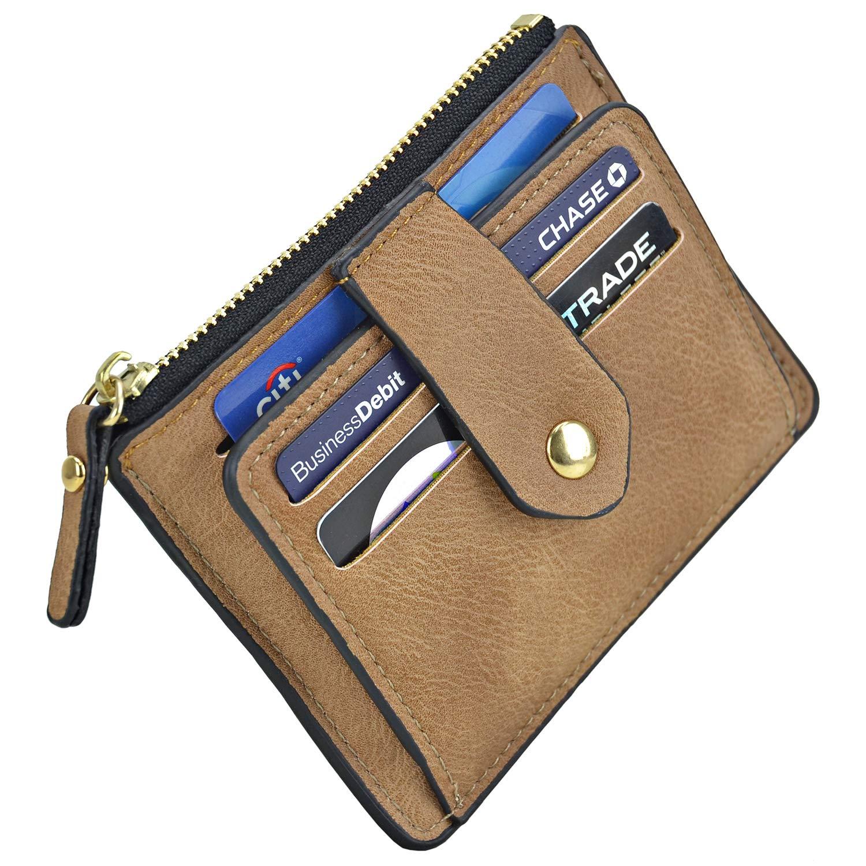 Camel Minimalist Slim Magnetic Front Back Pocket Money Wallet Small Credit Card Holder RFID Blocking