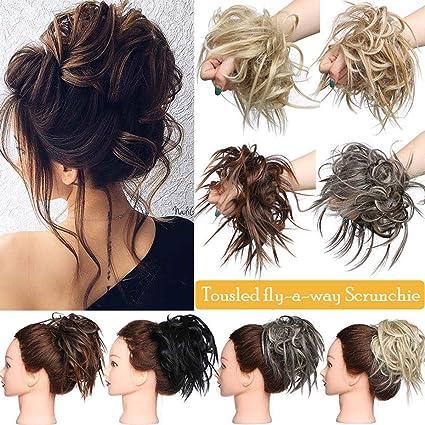 XXL Postiche Cheveux En Caoutchouc Chouchou Chignons VOLUMINEUX Bouclés Ou  Chignon Décoiffé Extension a clip Cheveux Naturel Blond de blanchiment