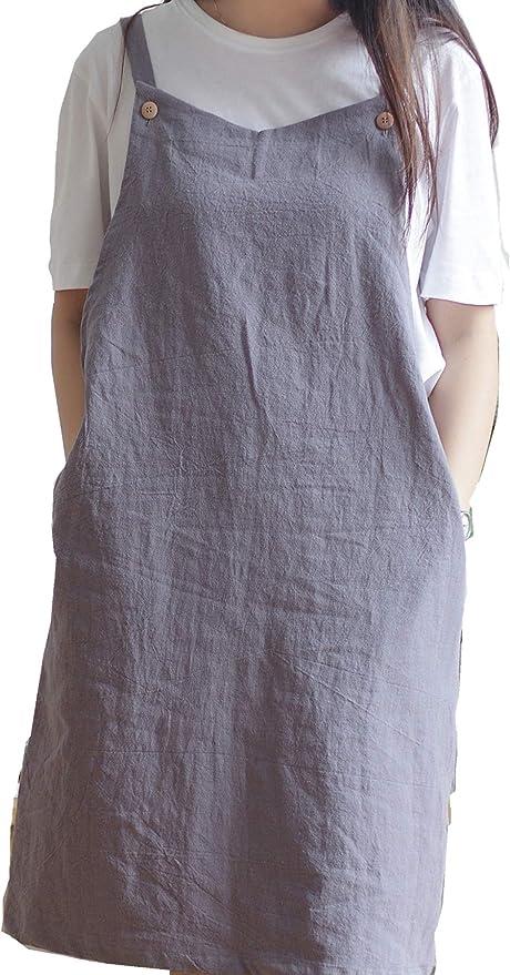 Delantal de cocina ajustable estilo japonés de lino de algodón con ...