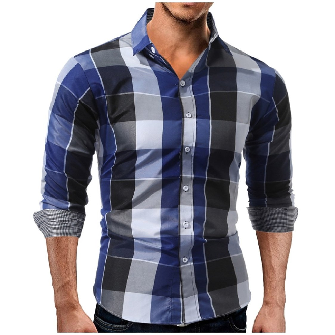 Coolred Men Contrast Color Fit Loose Turn Down Collar Bussiness