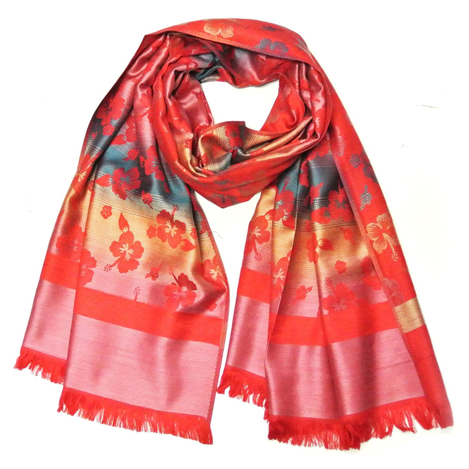 Wrapables Jacquard Woven Floral Clover Scarf Wrap, Scarlet