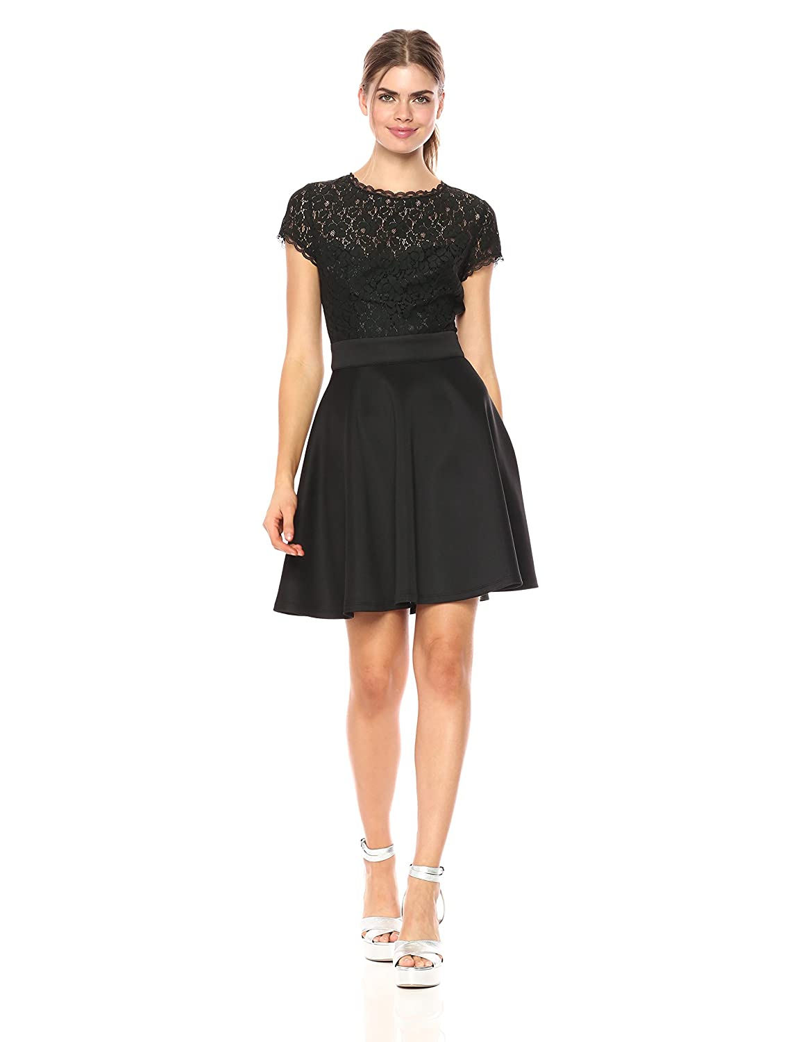 ceebb31c0580 Machine Wash Short-sleeve fit-and-flare dress featuring lace bodice, flared  scuba skirt, and open back. Lined bust, cap sleeves, concealed back zipper