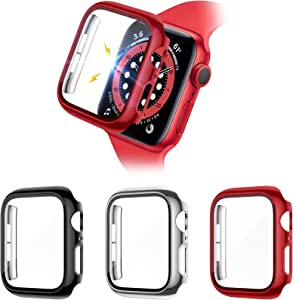 Liwin 3-Pack Tempered Glass Screen Protector Cases Compatible with Apple Watch SE / Series 6 / 5 / 4 40mm, HD Hard PC Protective Cover Case Compatible with iWatch Series SE / 6 / 5 / 4 (40mm, Black/Silver/Red)