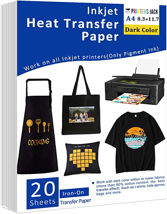 Iron on Transfer Paper for t Shirts Dark Fabric Heat-Transfer Paper for Inkjet Printer 20 Sheets