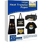 "Iron-On Heat Transfer Paper for Dark Fabric 20 Pack 8.3x11.7"" T-Shirt Transfer Paper for Inkjet Printer Wash Durable, Long La"