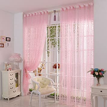 Attrayant Ouneed Fashion Print Flower Voile Door Curtain Window Room Curtain 1PC  (Pink)