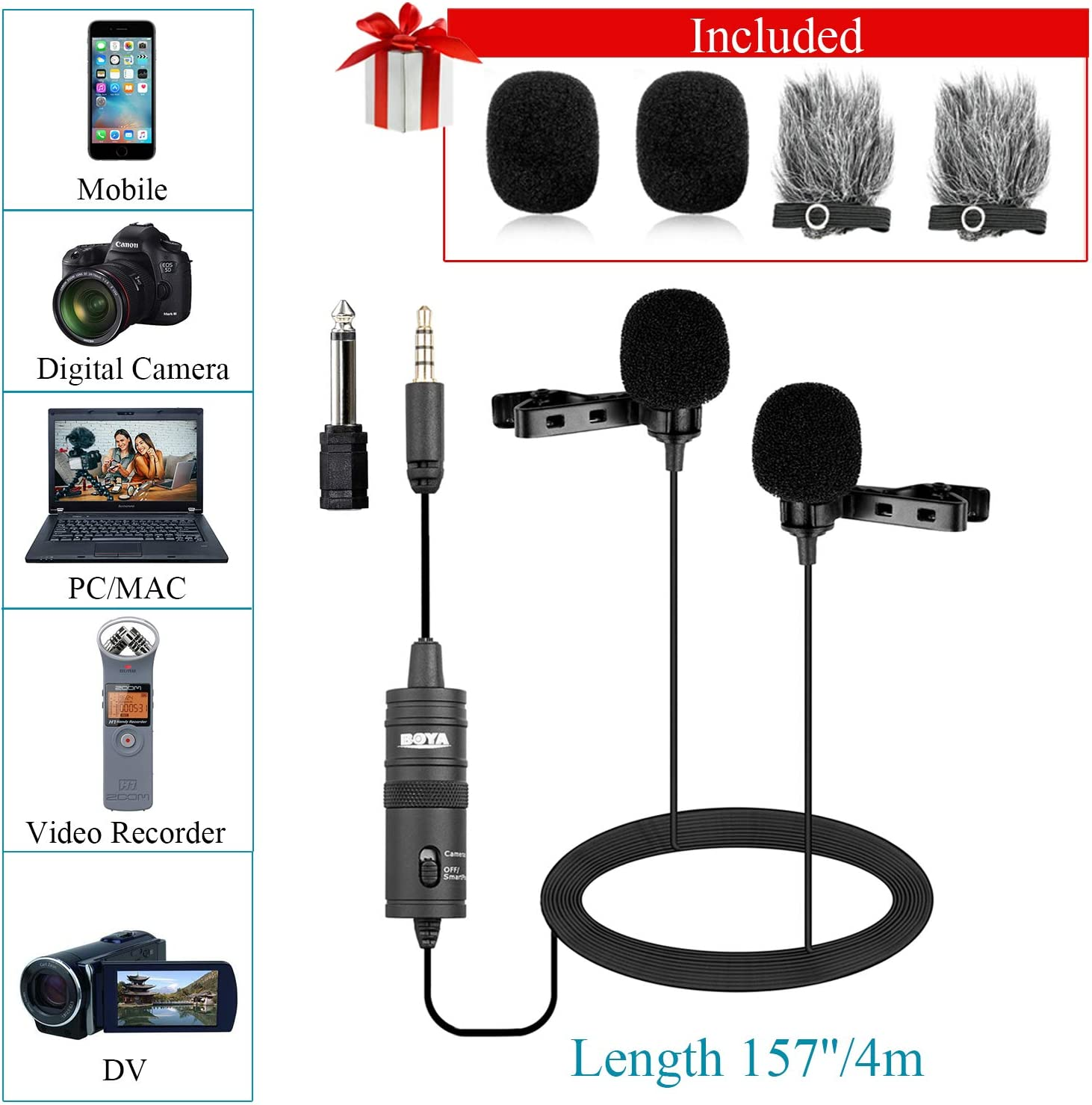236 Inch//6m USB-C Lavalier Microphone for Android Smartphones BOYA Clip-on Mic for Type-C Smartphones Pad Tablet Huawei Mate 10 Samsung Galaxy Note 9 8 Plus Xiaomi LG YouTube Video