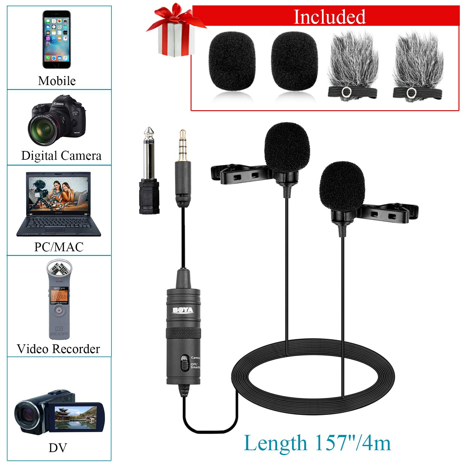 Dual Lavalier Microphone for Smartphone Camera Vlog, 157 Inch/4m BOYA BY-M1DM Dual-Head Lapel Universal Mic with 1/8 Plug Adapter for iPhone 11 X 8 7 Samsung Canon Nikon DSLR Camcorders PC Recorder by BOYA