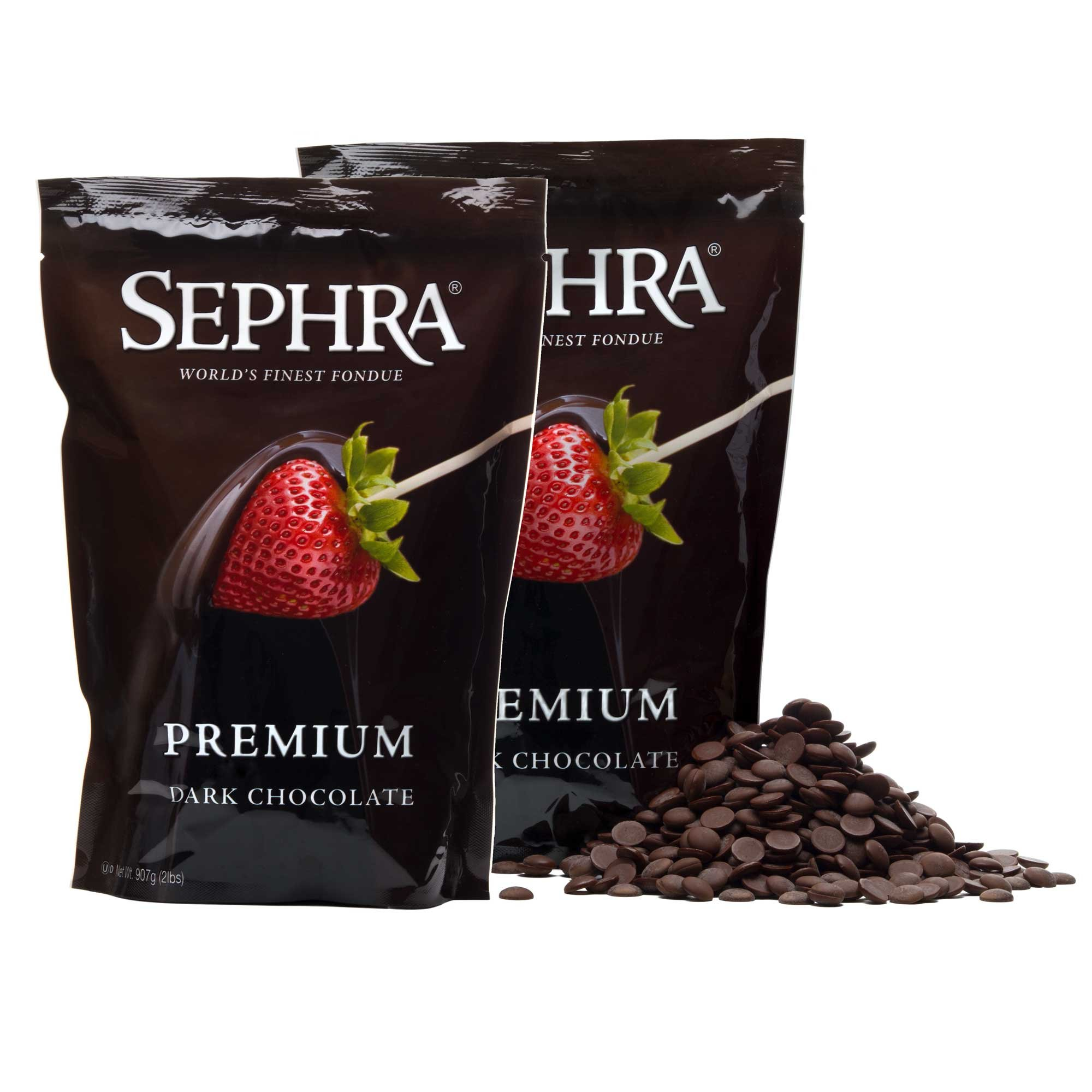 Sephra Premium Dark Fondue Chocolate for Chocolate Fountain, Kosher Dairy, Gluten and Trans Fat Free Dipping Chocolate, Chocolate Fountain Dark Chocolate Fondue, Best Baking Chocolate Chips, 4 LBS