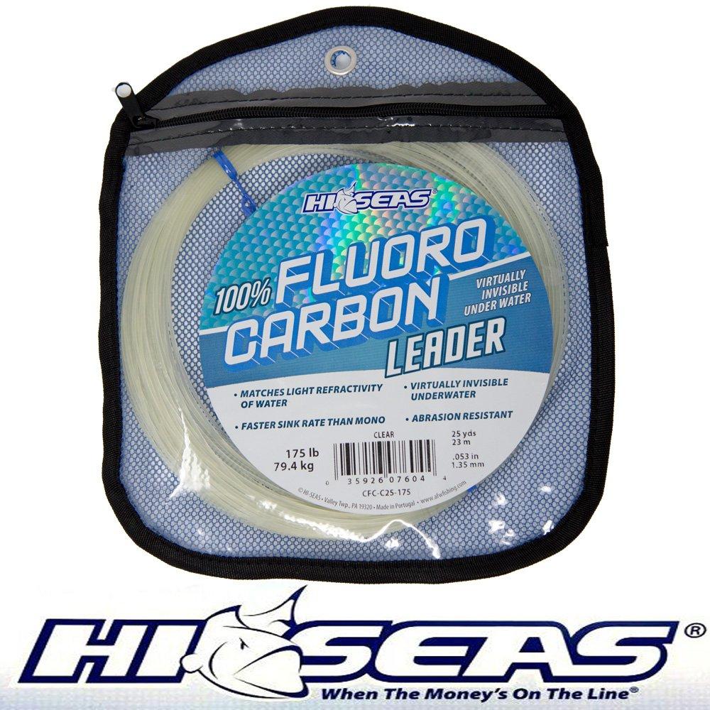 Hi-Seas 100% Fluorocarbon Leader Clear Leader Making Fluoro Leaders 175lb 25yds.