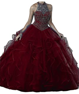 03697b06fd MFandy New Women High Neck Ball Gowns Girls Beads Quinceanera Dresses