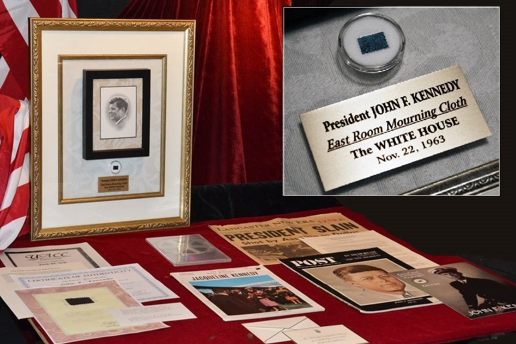 "JFK TALKING FRAME with Rare Funeral CLOTH, Rare JOHN F. KENNEDY Mass Memorial CARD, Jacqueline Kennedy's ""Thank You"" Card, DVD, COA, Artifacts + much more!"