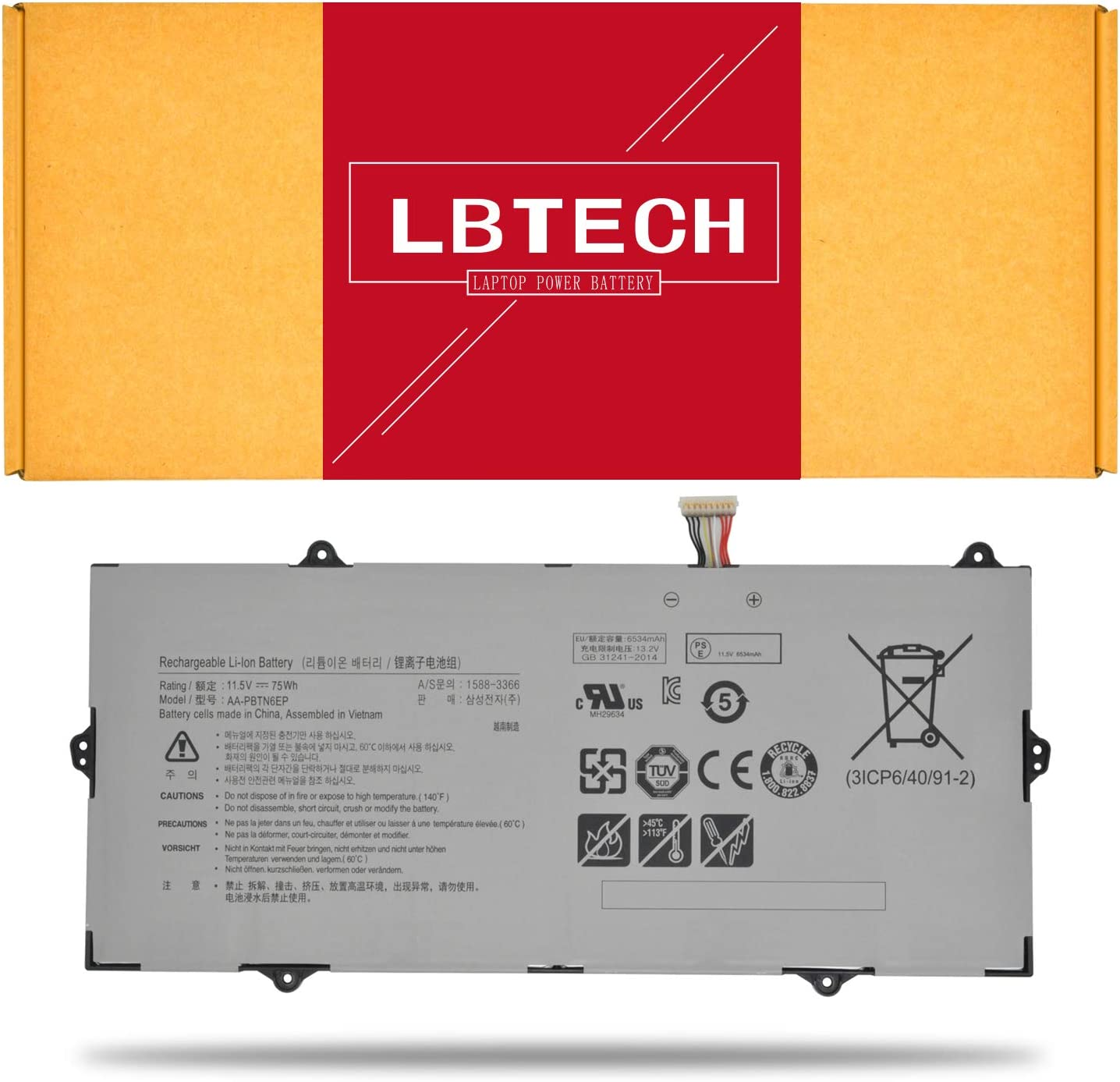 LBTECH AA-PBTN6EP Compatible Laptop Battery Replacement for Samsung 900X5T-X78L Notebook 9 NP900X5T-X01US 900X5T-X01 NP900X5T 900X5T 900X5T-X02 Notebook 9 NP900X5T Series 11.5V 75Wh