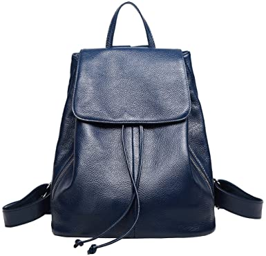 Amazon.com  Genuine Leather Backpack for Women Elegant Ladies Travel School Shoulder  Bag (Blue)  Clothing fd7d8f973e758