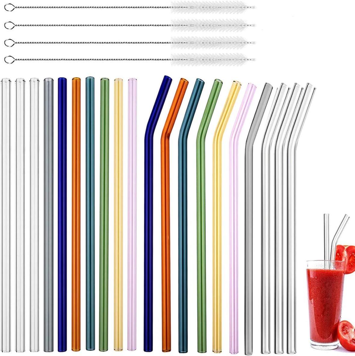Curvas y Rectas Fiyuer pajitas Vidrio 20 Pcs Reutilizables Paja de Vidrio para Licuado de C/óctel y Bebidas Calientes con 4 Cepillo Limpieza Paja