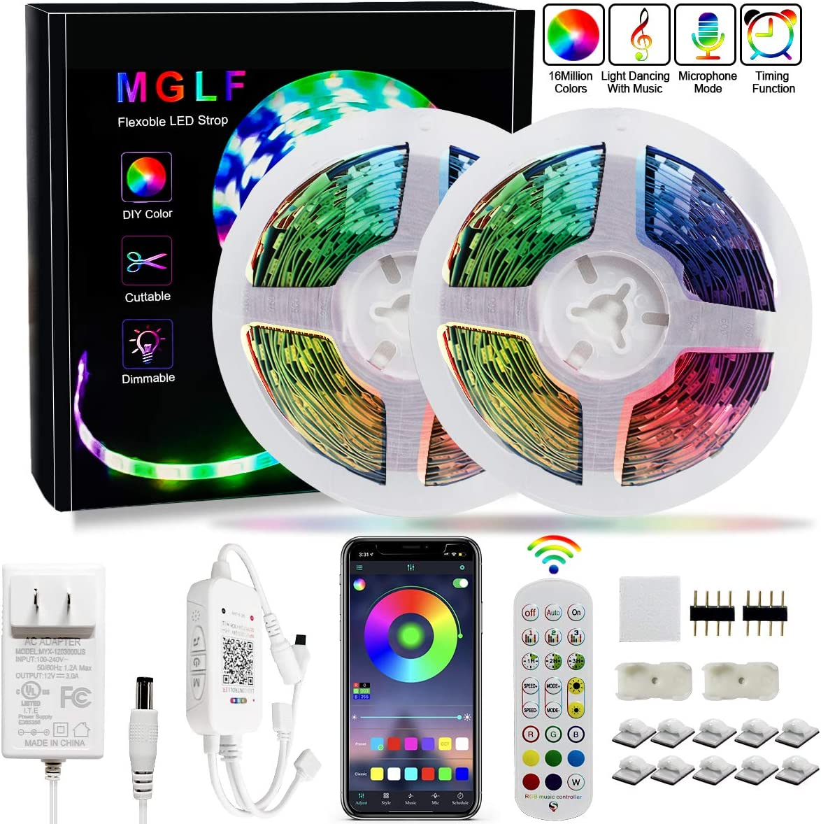 MGLF LED Strip Lights 32.8ft Bluetooth Music Sync Flexible Color Change RGB Led Rope Lights APP Control with 24 Keys Remote 12V(UL) Adapter RGB Light for Bedroom TV Halloween Christmas Home Decoration