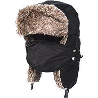 Flammi Unisex Winter Trooper Trapper Hat with Faux Fur Earflaps Windproof  Mask Ushanka Hat Russian Style 643416617e08