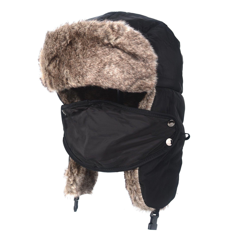 Amazon.com  Flammi Unisex Winter Trooper Trapper Hat with Faux Fur Earflaps  Windproof Mask Ushanka Hat Russian Style Hunting Hat Warm Ski Cap (Black)   ... af4ab2da4aca