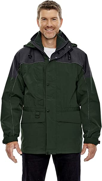 North End North End Mens 3-in-1 Two-Tone Zip-Off Hood Parka Ash City