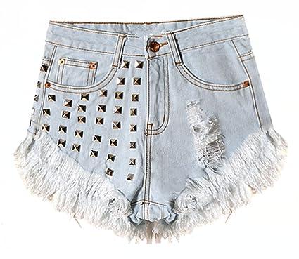 b999cbf7ed91 Damen Sommer Boyfriend Skinny Weinlese Hohe Taille Zerrissenes Loch Troddel  Niet Denim Shorts Hotpants Kurz Hosen