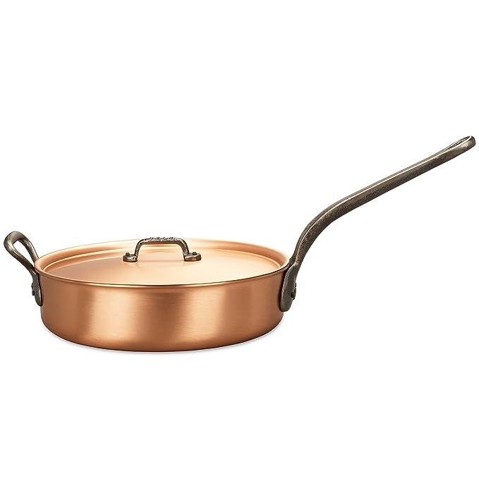 Falk Culinair - Sartén de cobre de 28 cm con asas de hierro fundido y tapa a juego, 4 litros: Amazon.es: Hogar