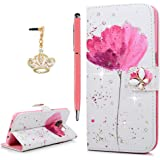 Galaxy S7 Edge Case (Not for S7),YOKIRIN Luxury 3D Bling Crystal Rhinestone Wallet PU Leather Purse Kickstand Flower Texture Cover Diamond Jewel Leather Flip Skin Shell Card Slots with Crown Dust Plug