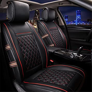 INCH EMPIRE 2 Front Seats Easy To Clean PU Leather Car Seat Cushions Anti