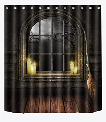 LB Dark Wood Cabin Candles Flying Broom Shower Curtain Set Halloween Witch Magic Themed Bathroom