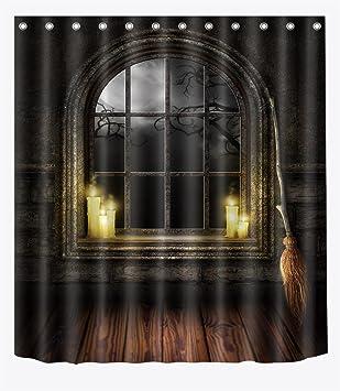 LB 180x180cm Polyester Stoff Bad Vorhänge Mit 12 Haken Wasserdicht Kerze  Auf Dem Fenster Und Besen